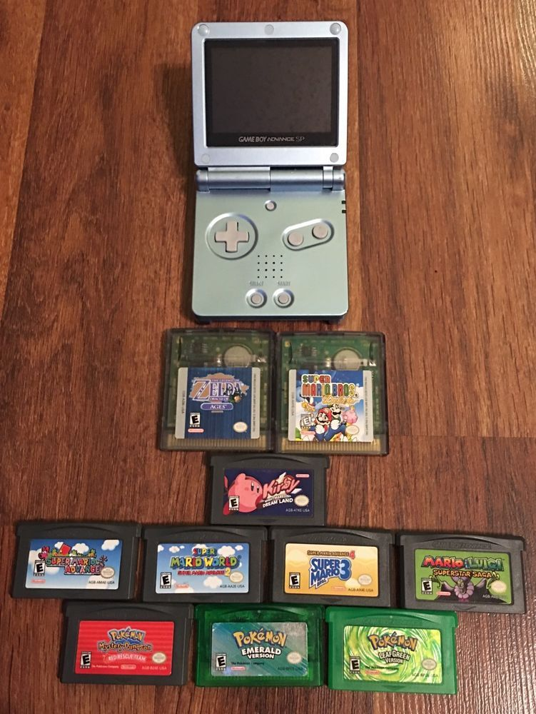 Nintendo Game Boy Advance SP AGS-101 Mario & Pokemon Bundle