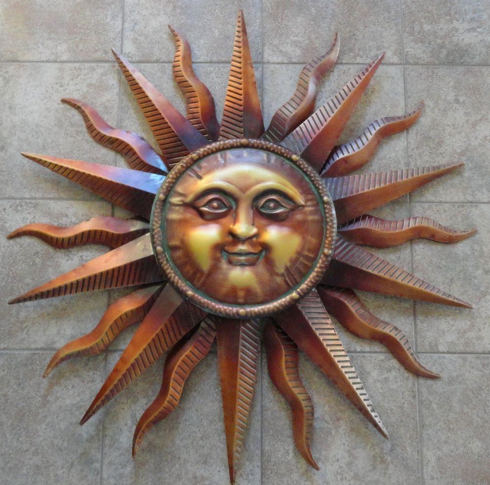 Large Copper Patina Sun Face Wall Hanging Metal Art Decor 38