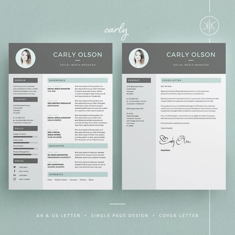 Carly Resume Cv Template Word Photoshop Indesign Etsy Cv Template Word Modele De Cv Professionnel Photoshop