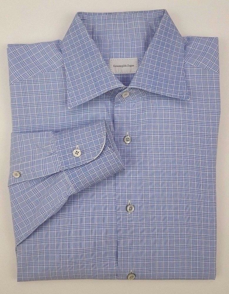 3df52409 ERMENEGILDO Zegna SHIRT 41 16 Blue CHECKED Mens SIZE Cotton TURKEY ...