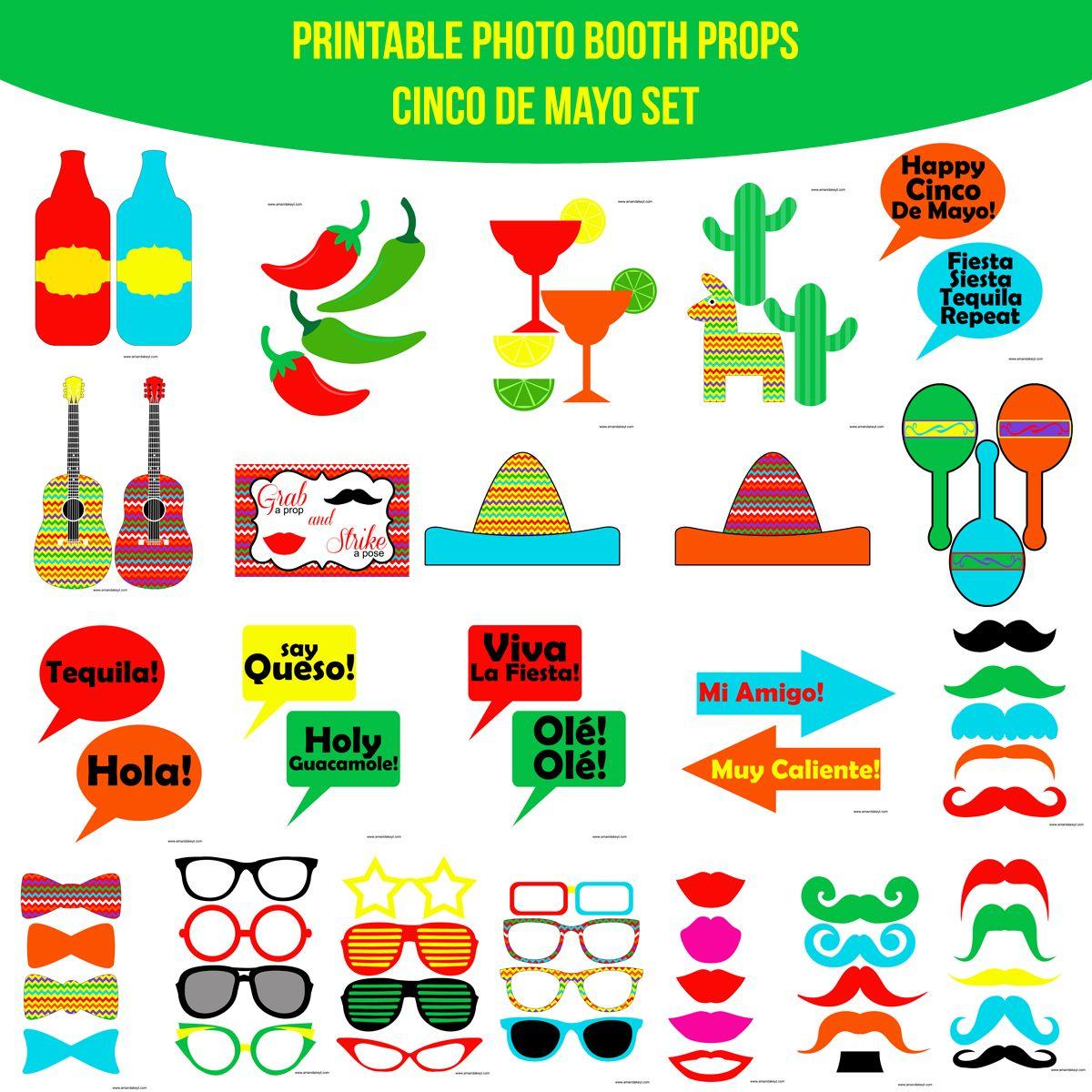 Instant Download Cinco De Mayo Printable Photo Booth Prop Set
