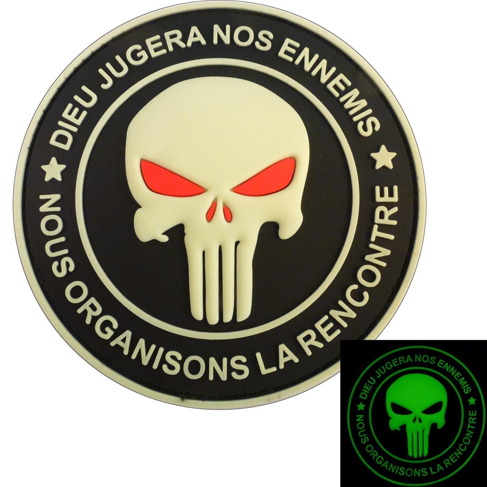 Glow Dark Dieu Jugera Ennemis Punisher Skull PVC Rubber 2AFTER1 Velcro Patch | eBay