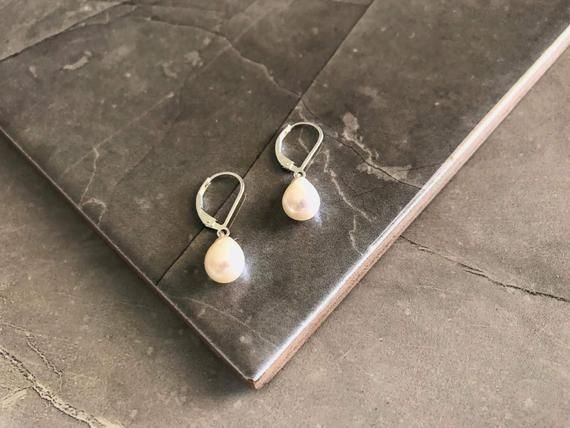 Photo of Teardrop Pearl Earrings, Bridal Pearl Earrings, Silver Pearl Earrings, Dainty Jewelry, Dangle Earrin