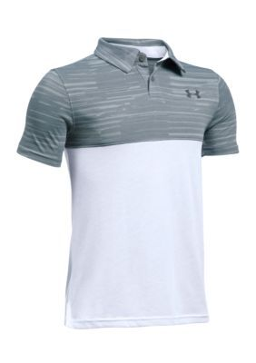 Under Armour Boys' Colorblock Performance Polo Boys 8-20 - Steel/White/Rhino Gray - Xl