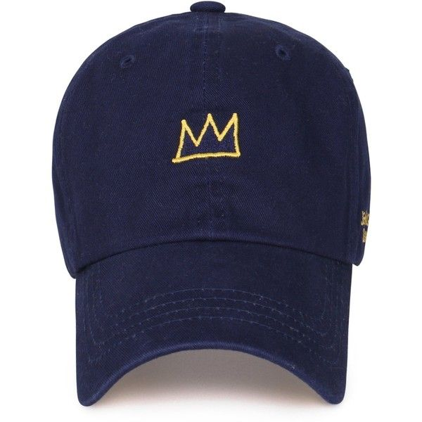 3bb1f0c1 Jean-Michel Basquiat Cotton Cute Crown Embroidery Curved Hat Baseball...  ($16) ❤ liked on Polyvore featuring accessories, hats, embroidery hats, ...