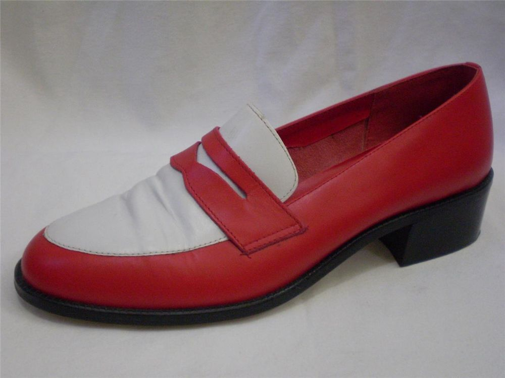 Vintage Spectator Penny Loafers 80s Red