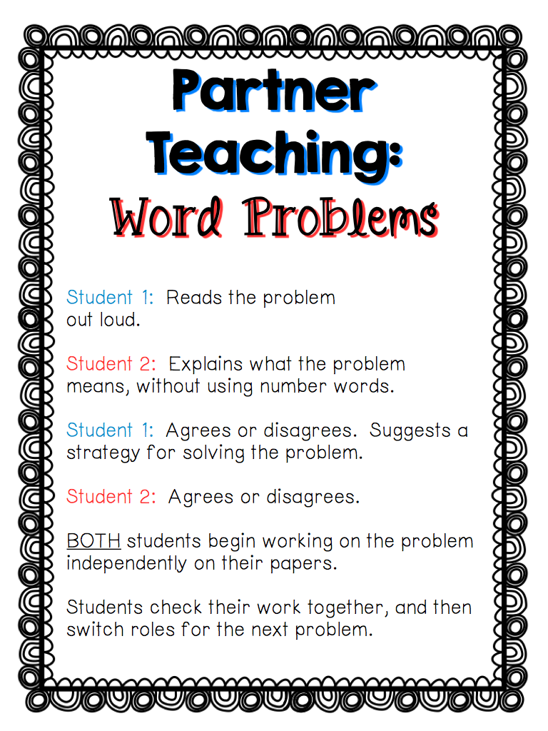 Tackling Word Problems In Partners Word Problems Math Word