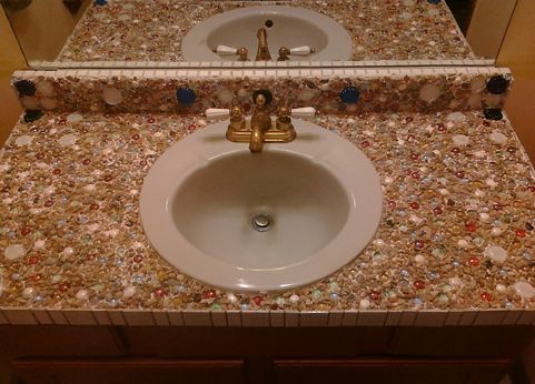 Mosaic Tile Countertop With Drop In Sink Mosaic Furniture