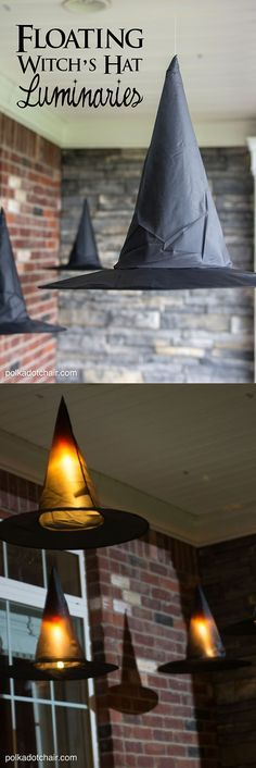 DIY Floating Witch Hat Luminaries; Halloween Witch Decorations