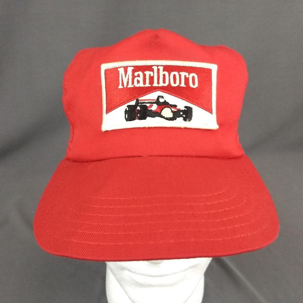 8f79e572b41b29 Vintage Marlboro Racing Snapback Trucker Hat Formula 1 F1 Mesh Patch Red Cap  USA #Marlboro #TruckerHat