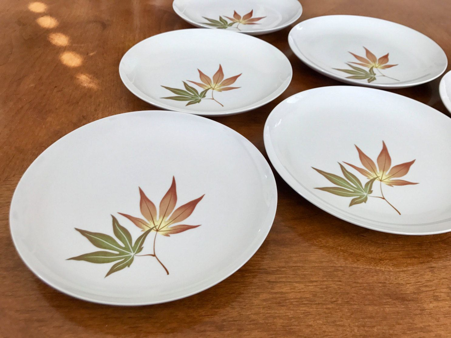 vintage franciscan dinner plates twice nice franciscan china  -  vintage franciscan dinner plates twice nice franciscan chinawhitestone ware mid century modern plates leaf pattern brown green
