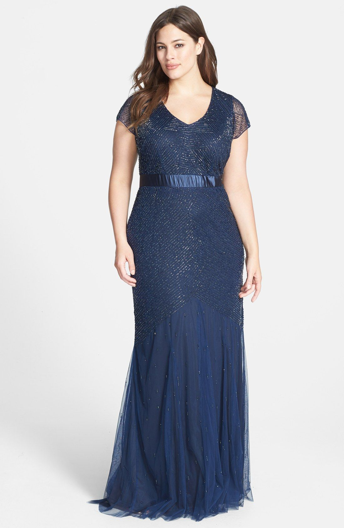 Adrianna Papell Beaded Chiffon Gown (Plus Size) | Nordstrom ...