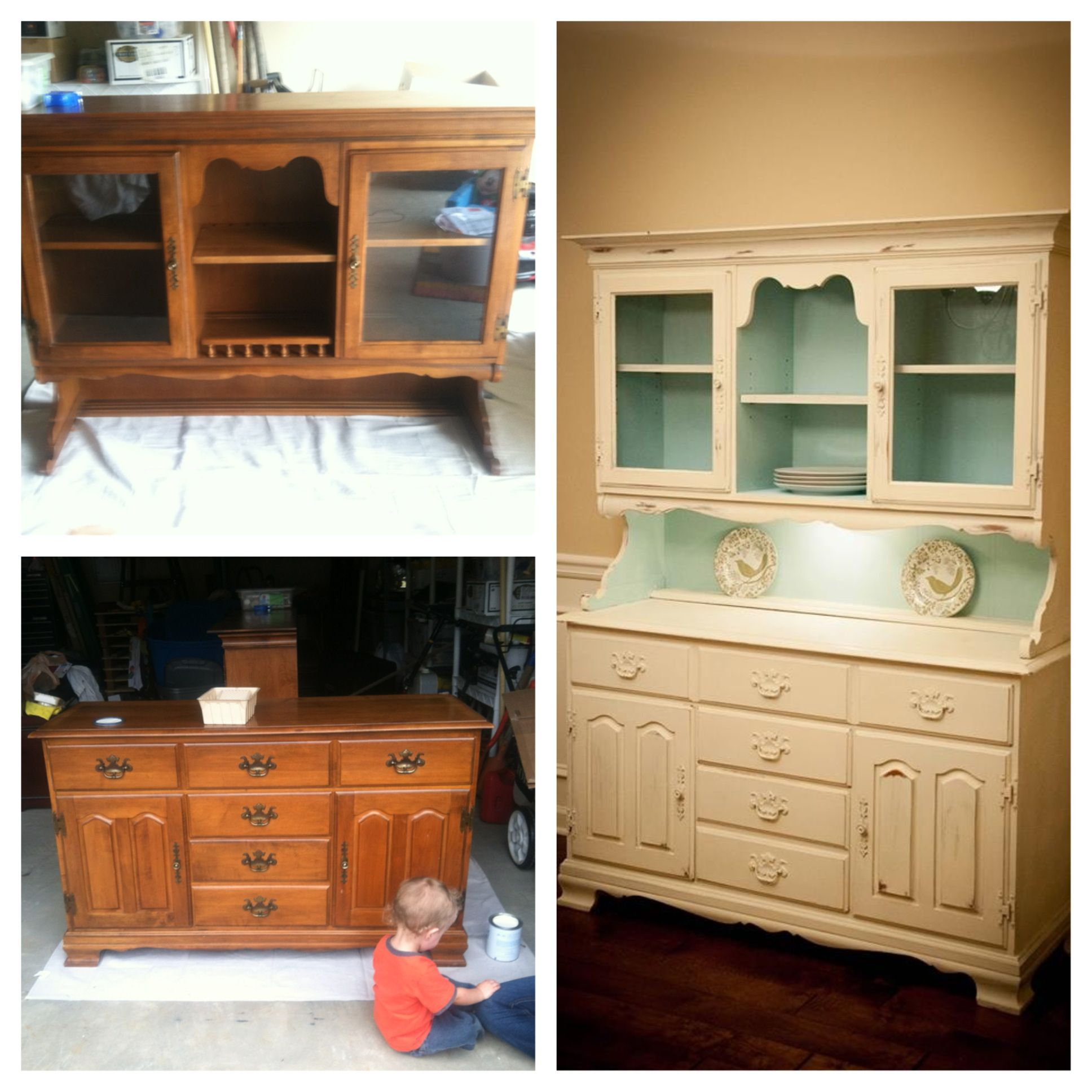 Chalk Paint Kitchen Cabinets Diy: DIY China Cabinet China Hutch Before And After Chalk Paint