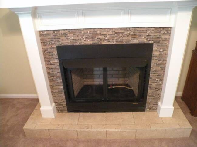 ceramic tile around fireplace