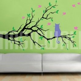 Shown here in Black branch, Lime-Tree Green leaves, Lavender cat and Bubble Gum birds.  For 'Need a Cat? If so, please select a Colour': If you need a cat, just select a colour for the cat. If you do not need a cat, please select 'No Cat' (-$5)  If you need a custom size, just contact us! We can customize any of our wall decals according to your specifications.  Squeegee, Practice Decals, and Detailed Instruction will come with your order. Using removable vinyl wall decals to decorate…