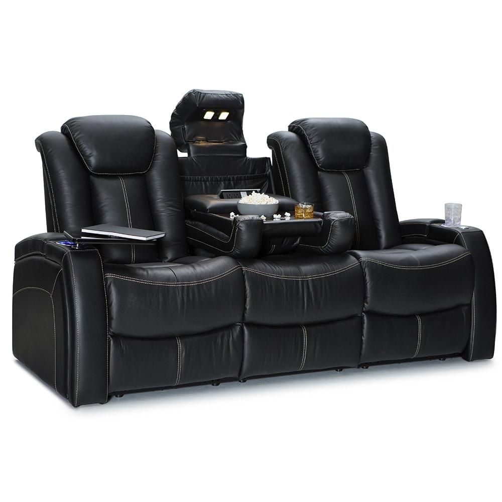 Leather Home Theater Seating Recline Sofa With Fold Down Table Black