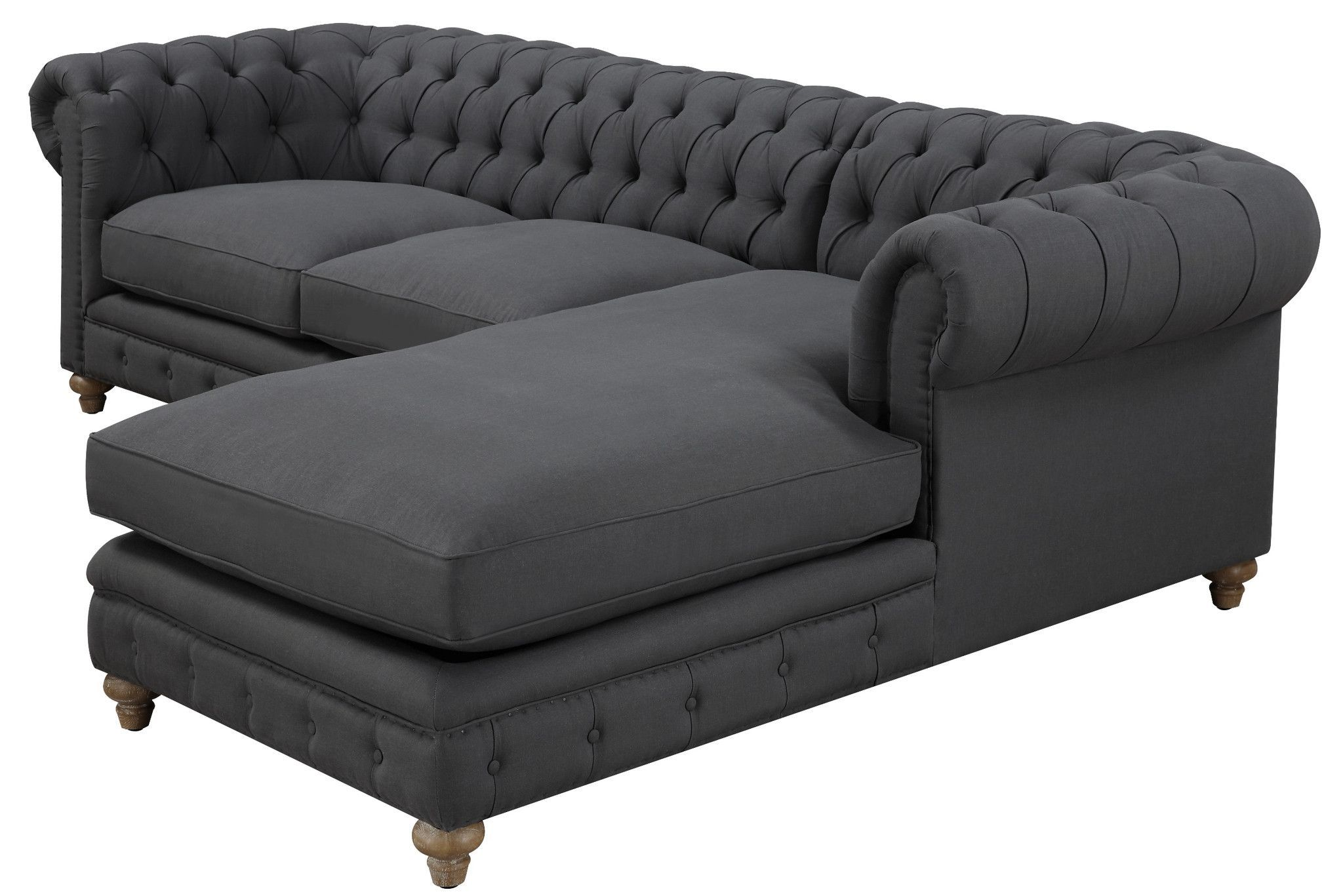 Chesterfield Linen Sectional Sofa