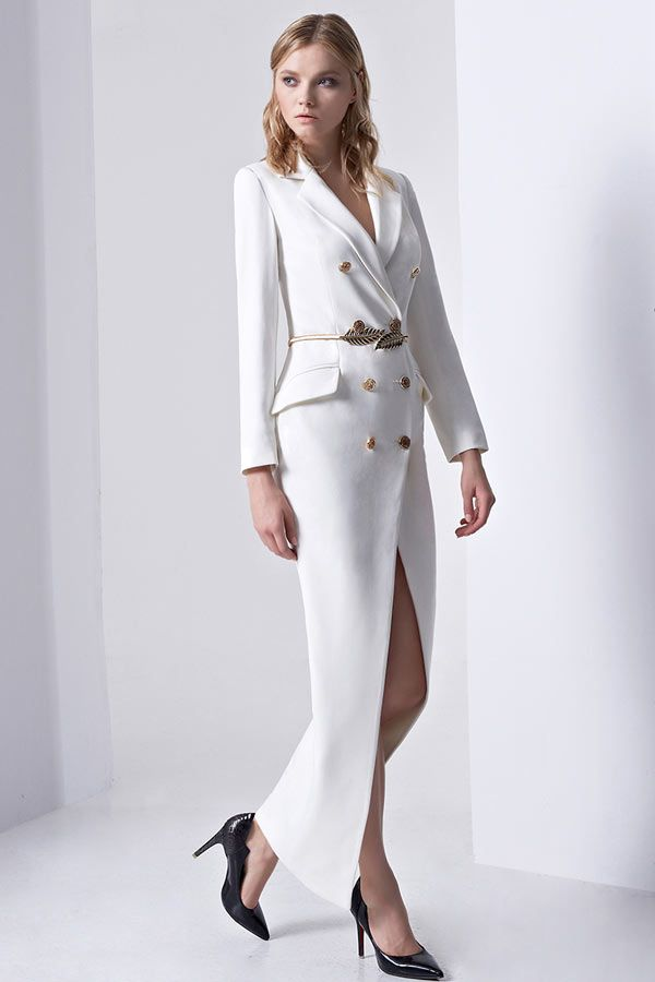 Robe tailleur longue blanche