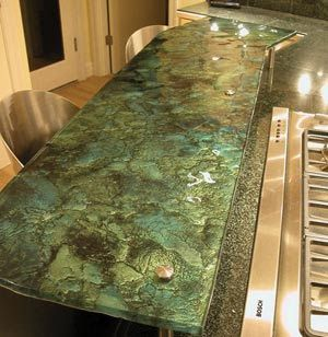 kitchen countertops - recycled glass slab countertop | cucina