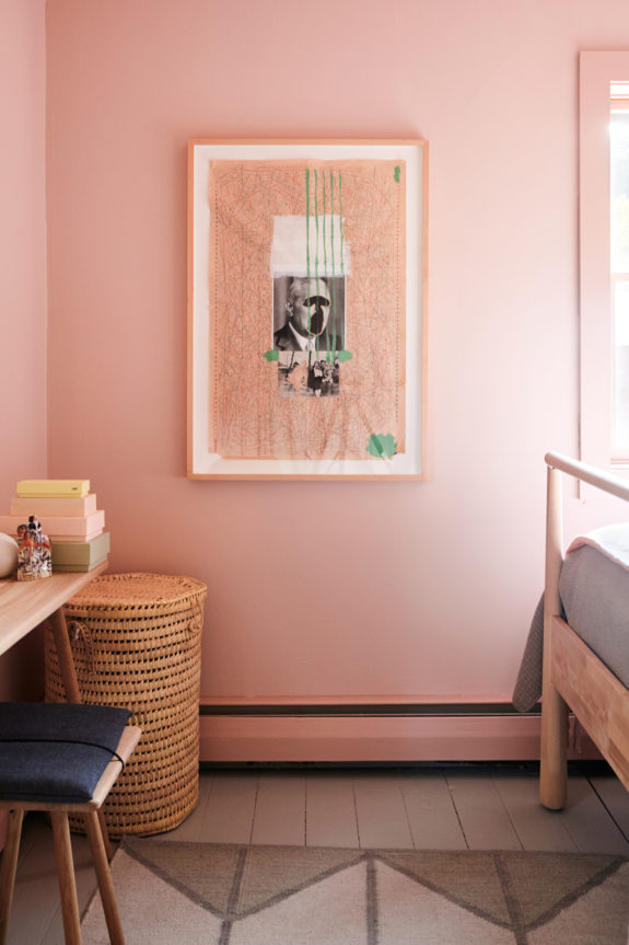 pink wall with pink framed art collage in feminine bedroom on home office paint colors 2021 id=72987