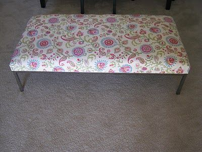 Ikea hacked coffee table turned upholstered ottoman | Coser