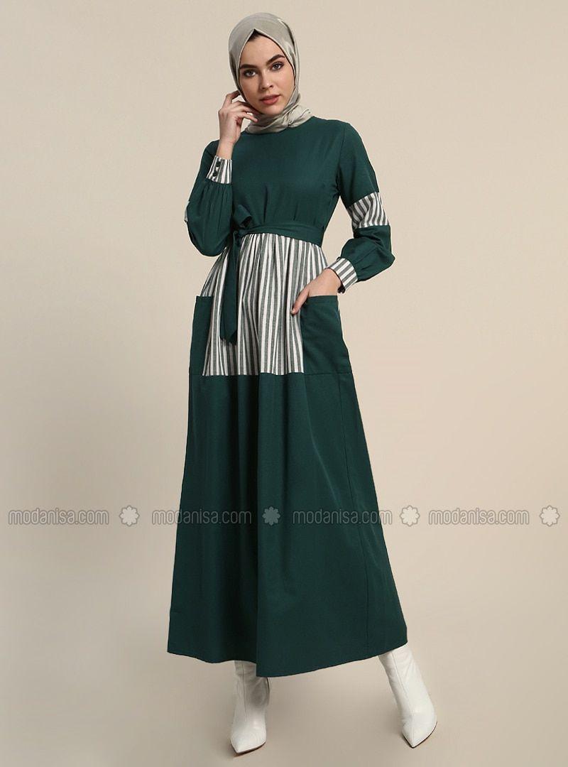 0627a3e5f92 Refka Emerald Stripe Crew neck Unlined Cotton Dresses  stripes  cottondress   elbise  modelleri
