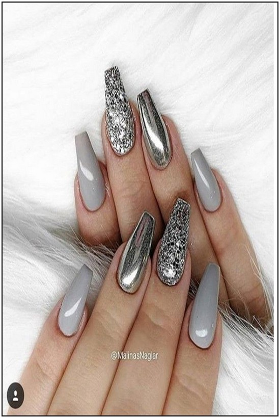 155 The Most Wonderful And Convenient Coffin Nail Designs 2019 Page 14 Myblogika Com Silver Nail Designs Grey Nail Designs Silver Nails