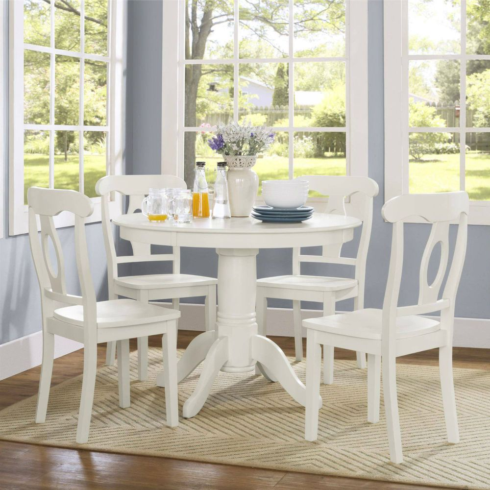 Traditional Dining Set Table Chairs Solid Wood Round Cottage Style 5 Piece White White Round Kitchen Table Small Space Dining Set Kitchen Dining Sets