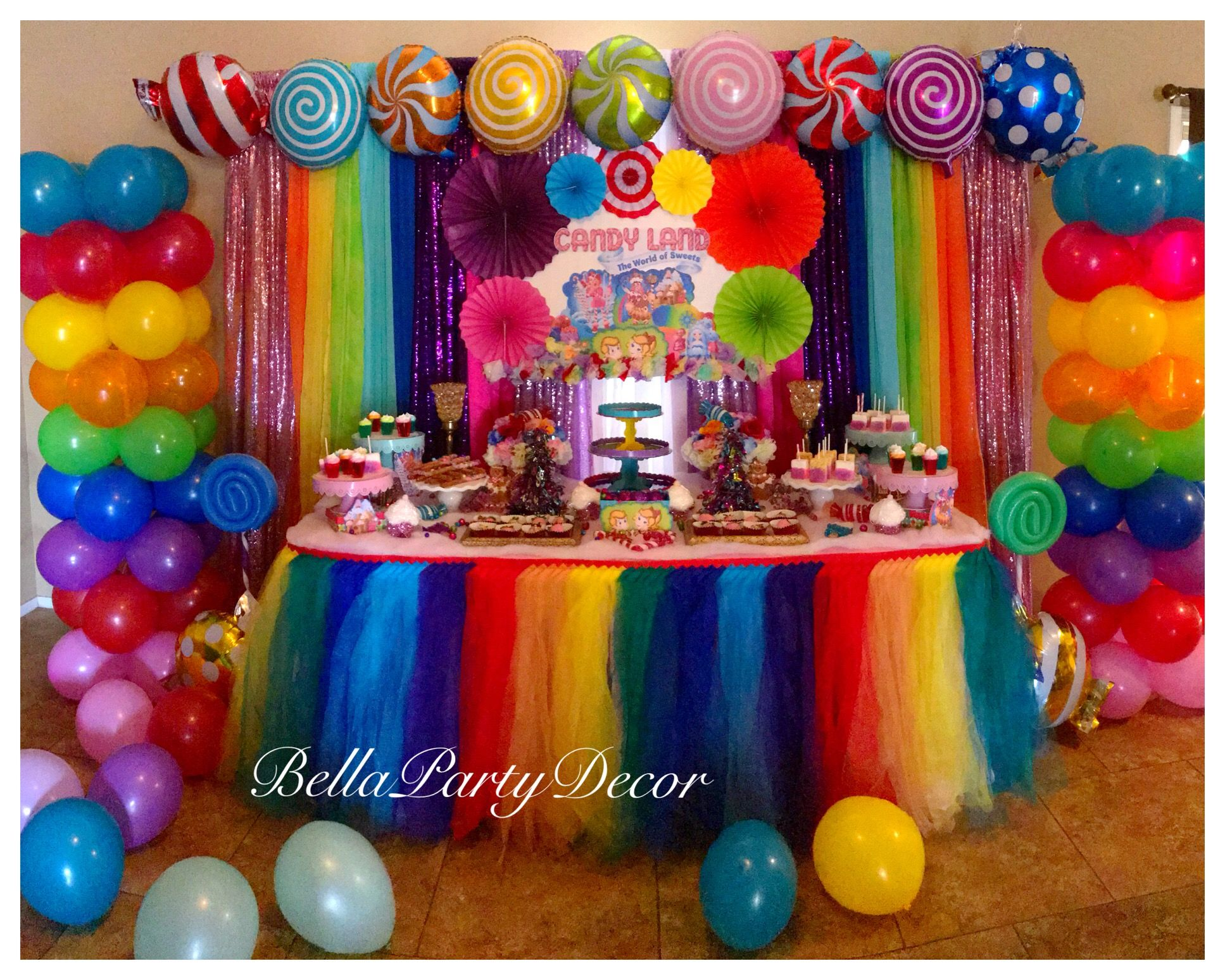 Candyland Dessert Table With Two Balloon Columns Rainbow Tutu