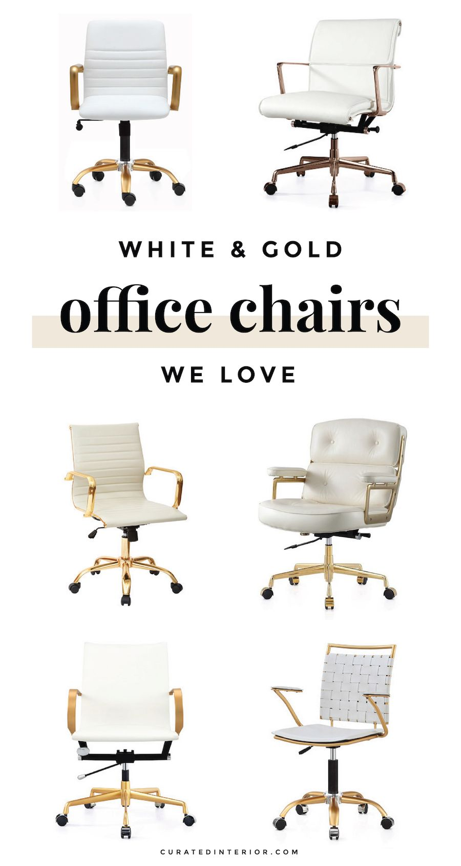 White Gold Office Chairs For Your Home Office Desk Office