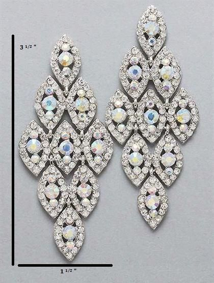 Iridescent Silver Chandelier Earrings At Promdress