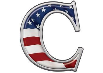 reflective letter c with flag