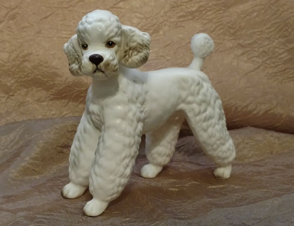 Vintage White Ceramic Porcelain French Poodle Dog Figurine H7328 Collectibles Animals Dogs Ebay