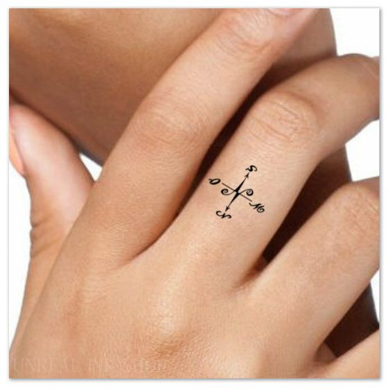Temporary Tattoo Compass Finger Fake Tattoos Thin Durable Etsy Fake Tattoos Simple Compass Tattoo Small Wrist Tattoos
