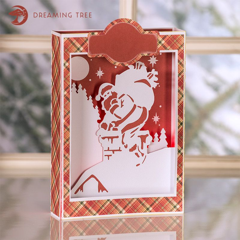 Santa Paperscape Box Card SVG Boxed christmas cards