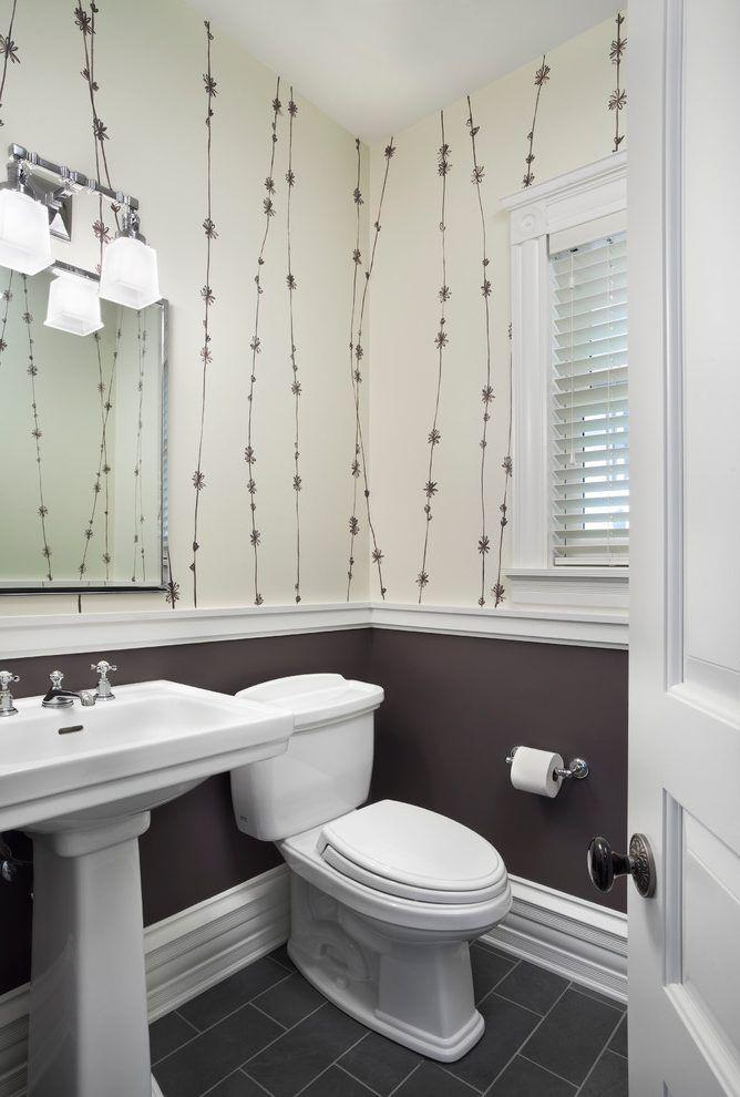 Bathroom Chair Rail Powder Room Transitional With Chair Rail Pedestal Sink Bathroom Lighting Diy Bathroom Remodel Half Bathroom Wallpaper Half Bathroom