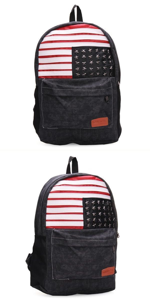 734b536d5c1 ... men and women stripe canvas backpack students school bag rucksack ...