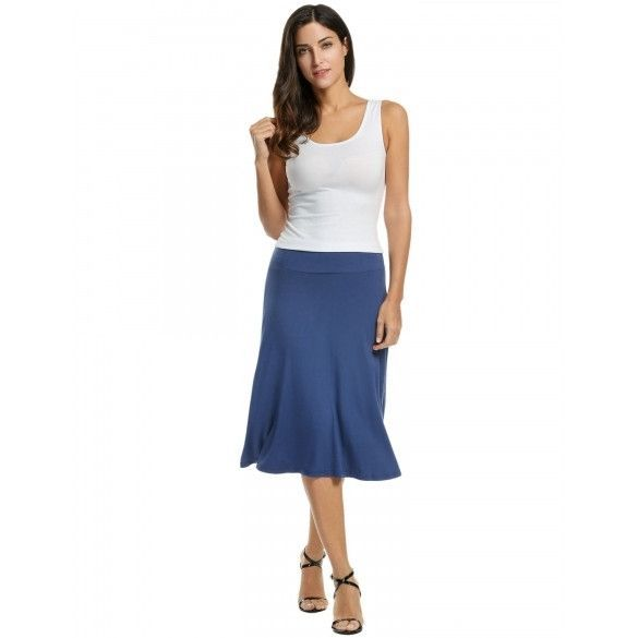 Women Casual Fold Over Waist Solid Stretch Flared Midi Skirt