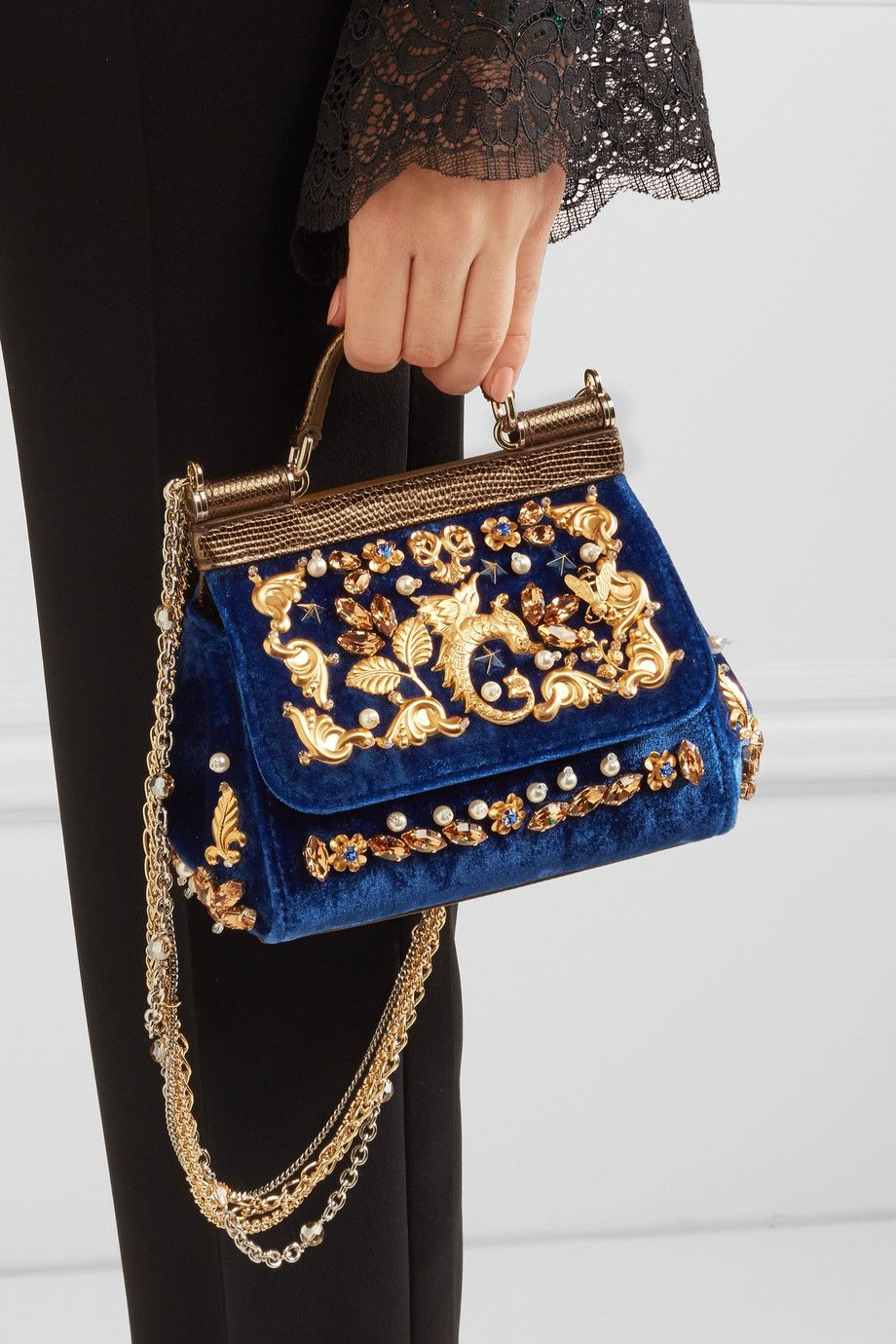 4a0df604 Dolce & Gabbana | Sicily embellished velvet and lizard-effect leather  shoulder bag | NET-A-PORTER.COM
