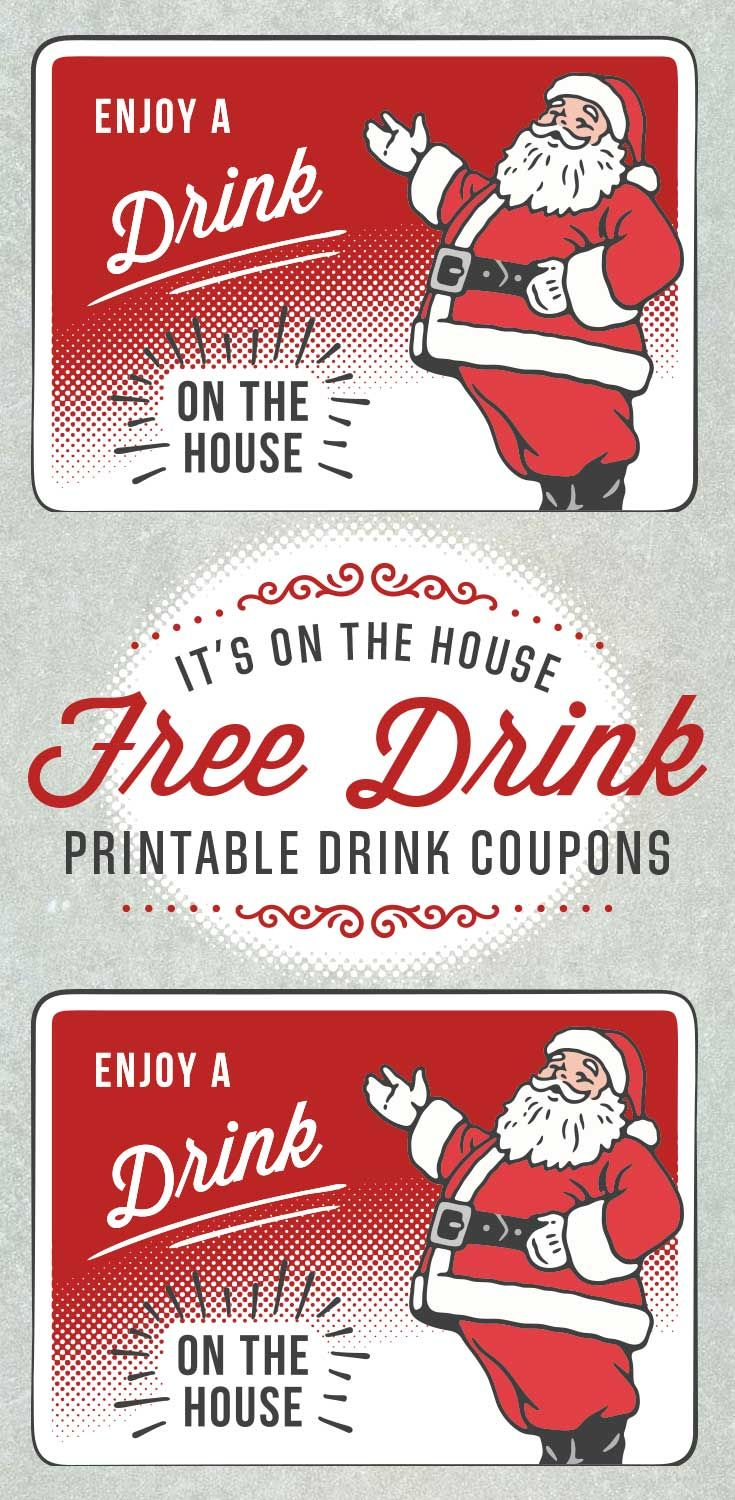 santa holiday drink ticket template christmas party pinterest