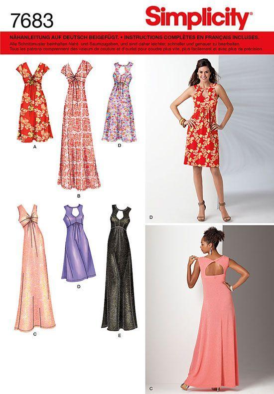 7683 Simplicity Schnittmuster Kleid Abendkleid | Schnitte ...