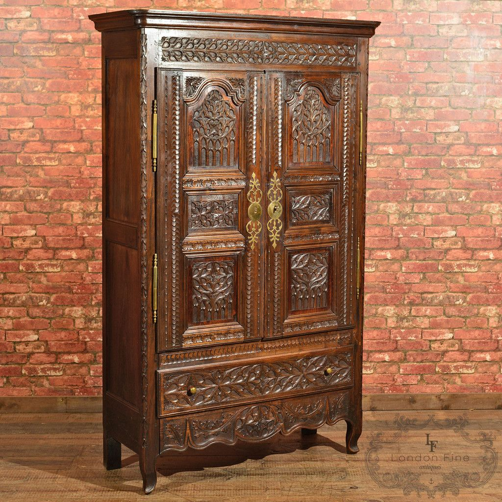antique french oak armoire c  antique wardrobes  press  - antique french oak armoire c