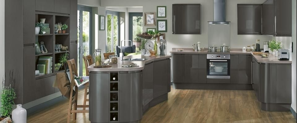 Gloss graphite integrated handle ktchen range kitchen for Kitchen ideas howdens