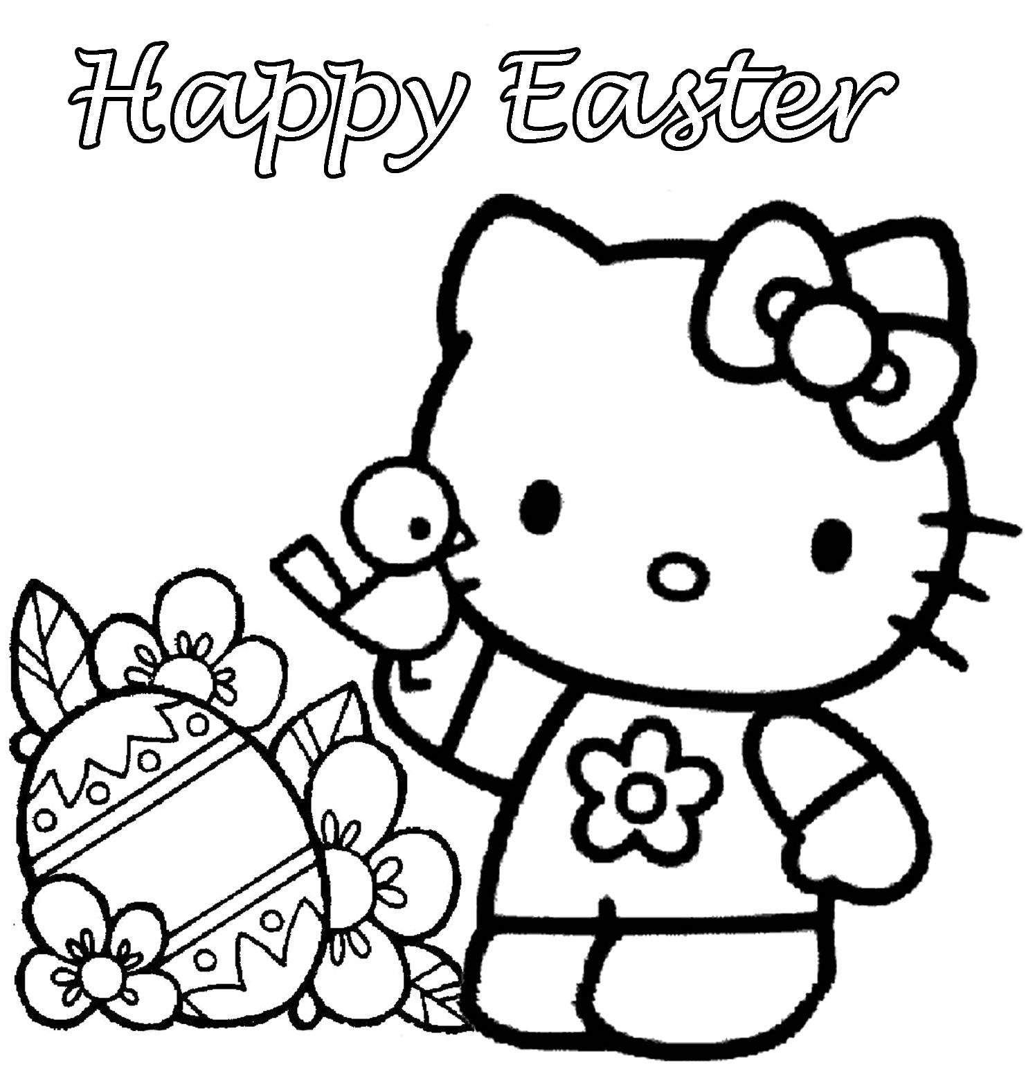 Printable coloring pages of easter - Hello Kitty Happy Easter Coloring Pages Easter Colorings