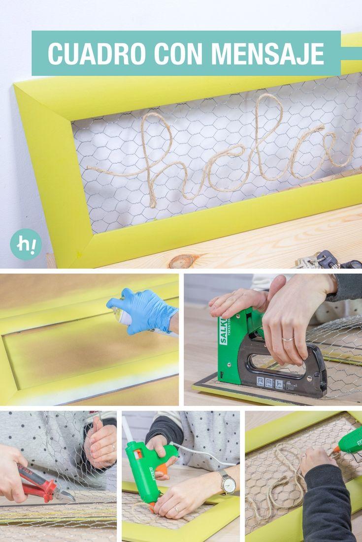 Cuadro con malla de gallinero y cuerda | Pinterest | marco DIY ...