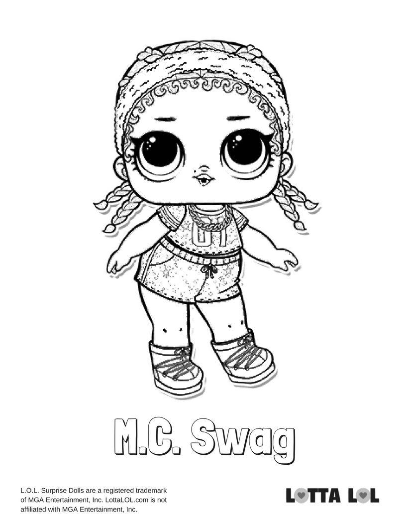 MC Swag Glitter Coloring Page Lotta LOL Coloring pages