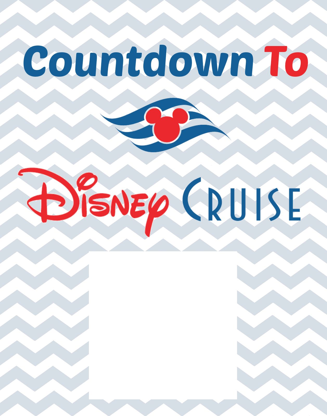 photo relating to Disney Countdown Calendar Printable identified as Countdown In direction of Disney Cruise Totally free Printable Disney Cruise