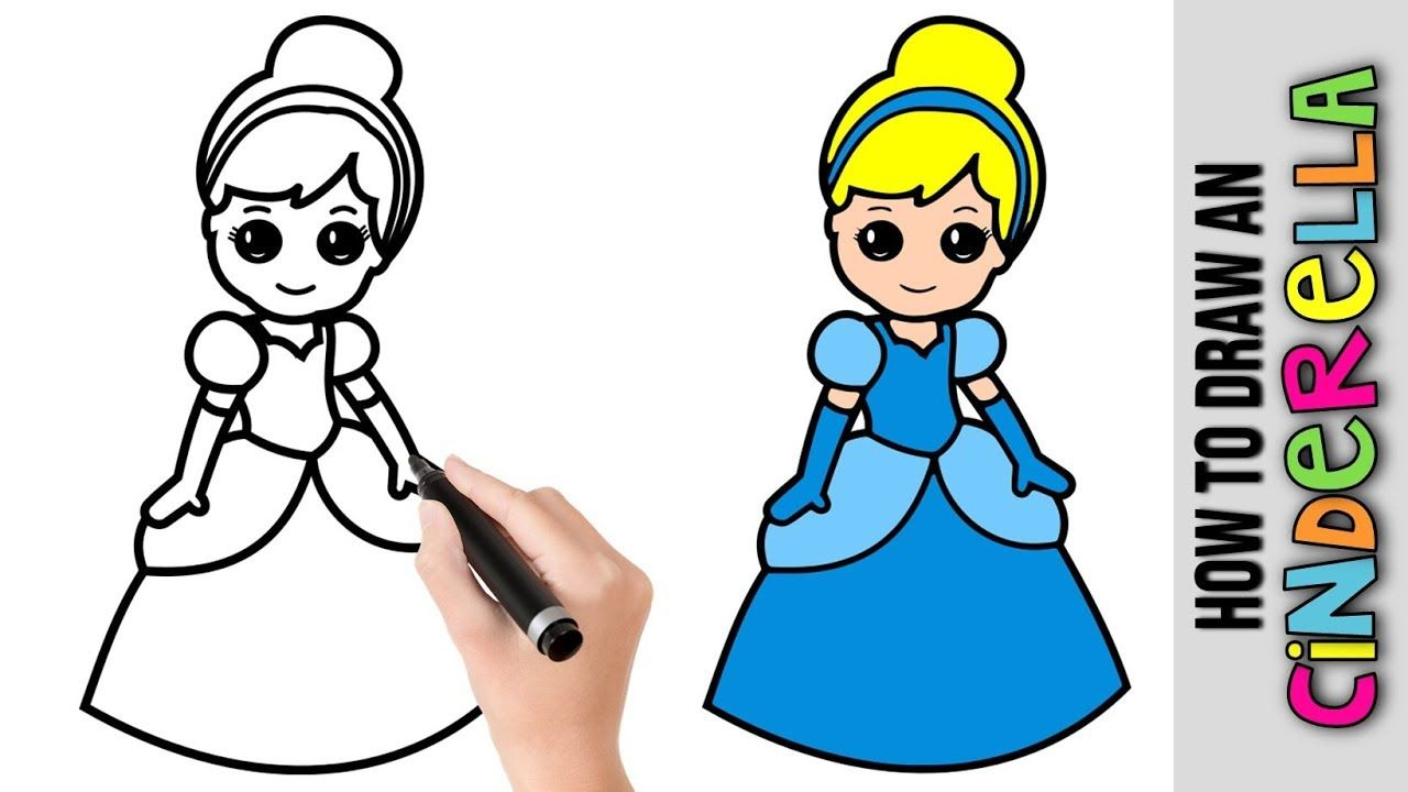How To Draw Cinderella Disney Princess Easy Pictures To Draw