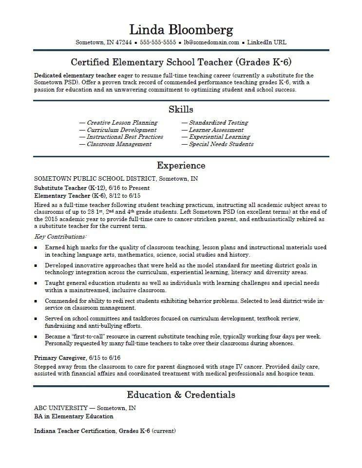 elementary school teacher resume template monster in 2020