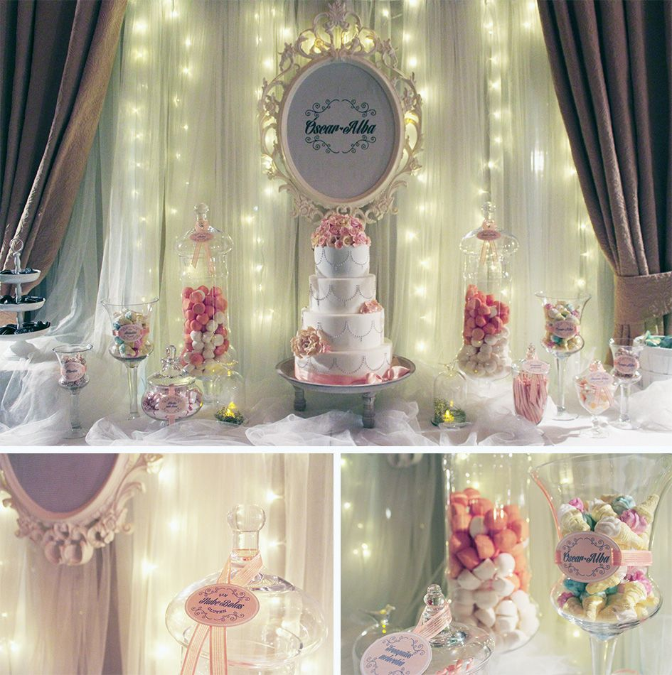 Candy bar para bodas comuniones bautizos mesas de for Decoracion para la pared